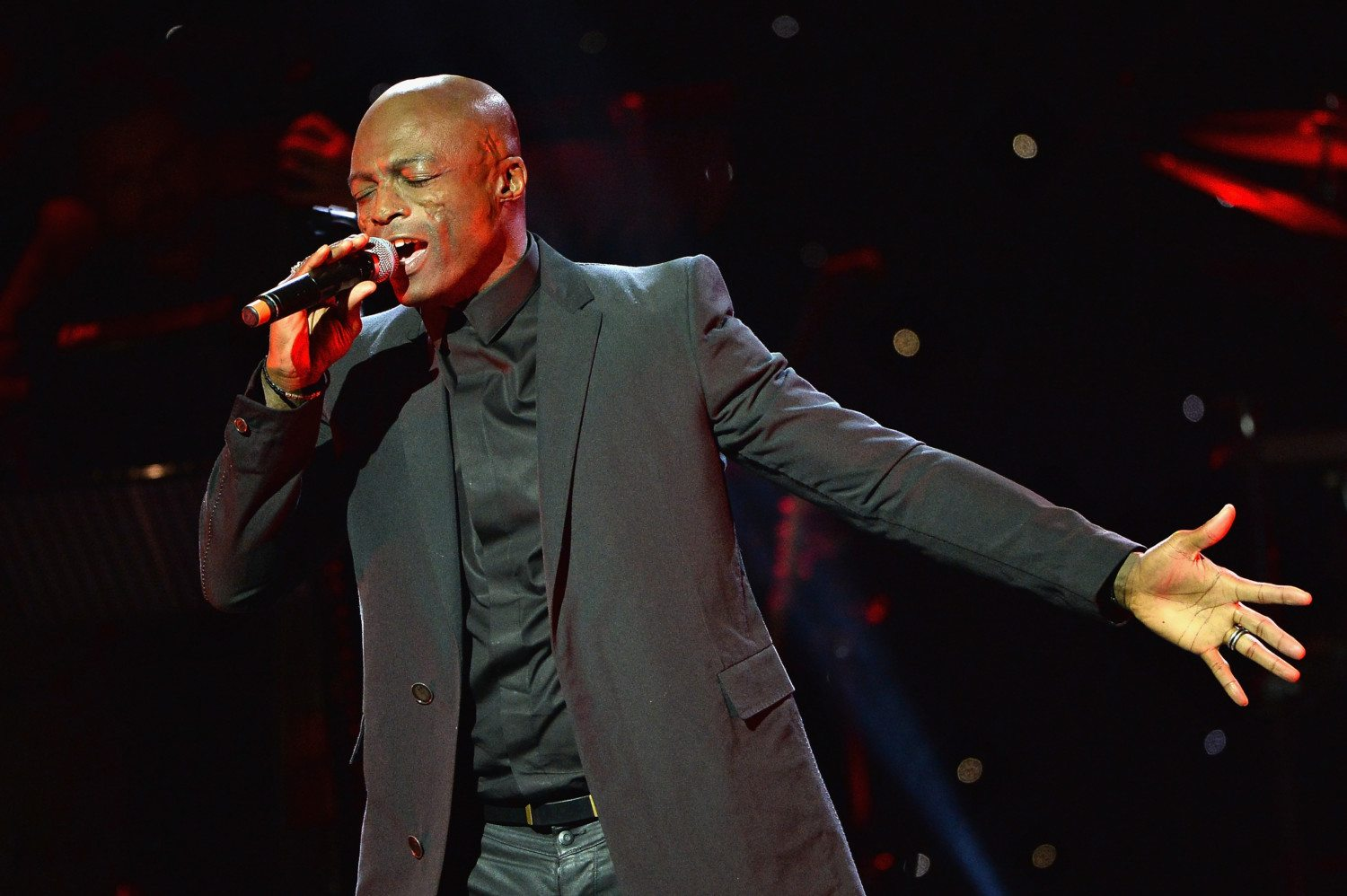 Seal singing on stage
