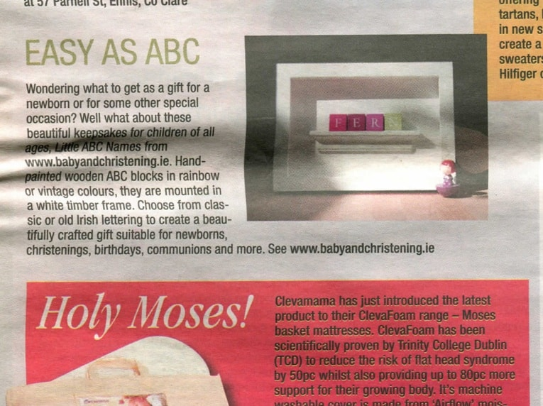 Baby Gifts Irish Independent Press Article