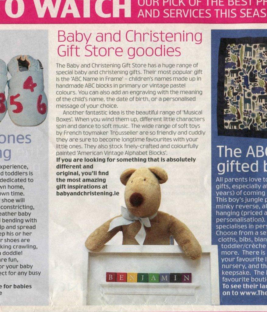 Baby Gifts Irish Independent Supermum Magazine Press Article