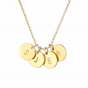 Gold intital Necklace 4 discs