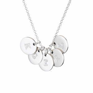 Silver Initial 5 Disc Necklace