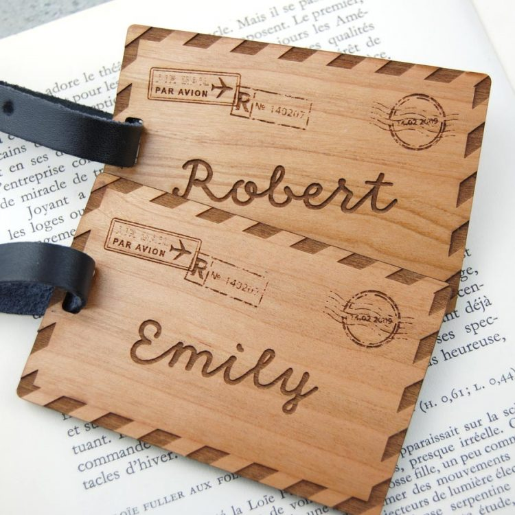 Personalised Wedding gift, personalised engagement gifts, personalised anniversary gifts engraved wooden luggage tags