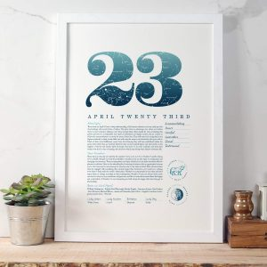 April 23rd Birthday Print