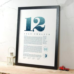 August 12th Birthday Print