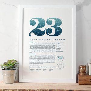 August 23rd Birthday Print