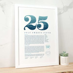 August 25th Birthday Print