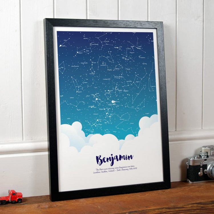 Personalised Baby Gift Star Print in Black Frame