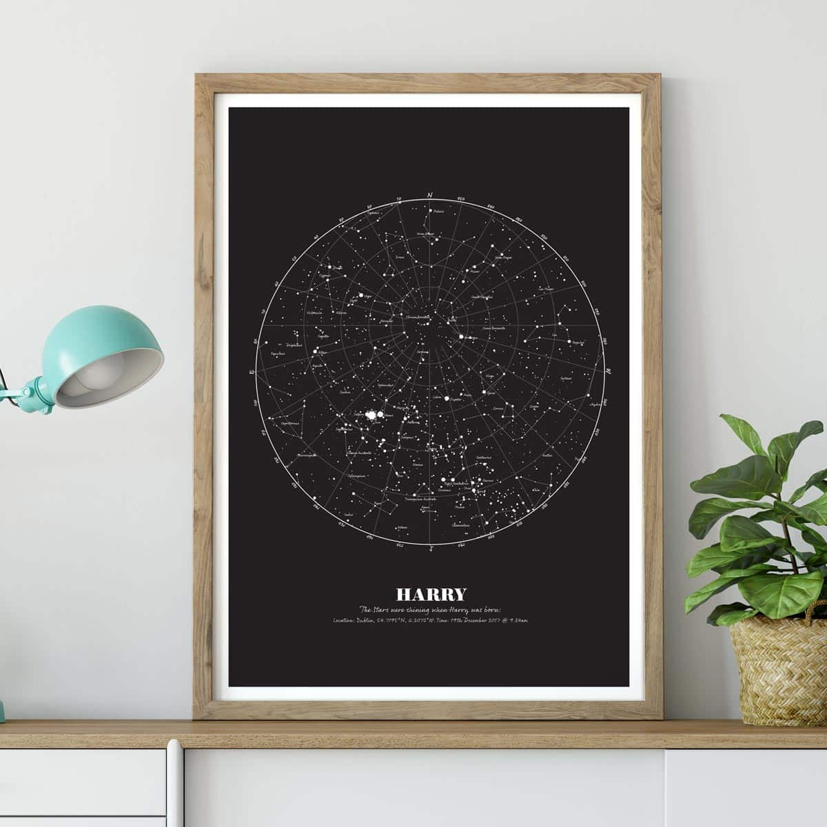 Birthday Gift Map Of The Stars Print Black