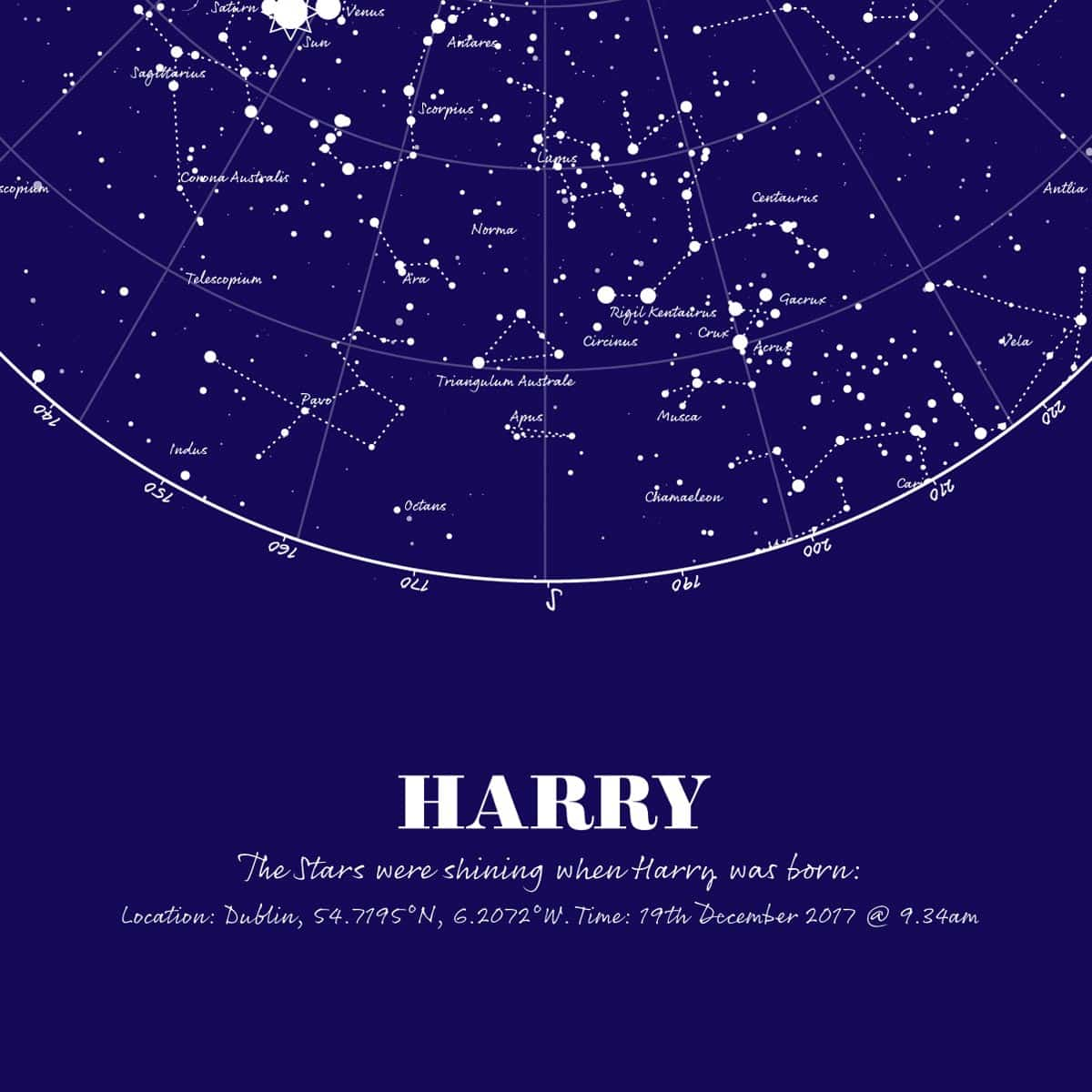 Birthday Gift Map Of The Stars Print Navy