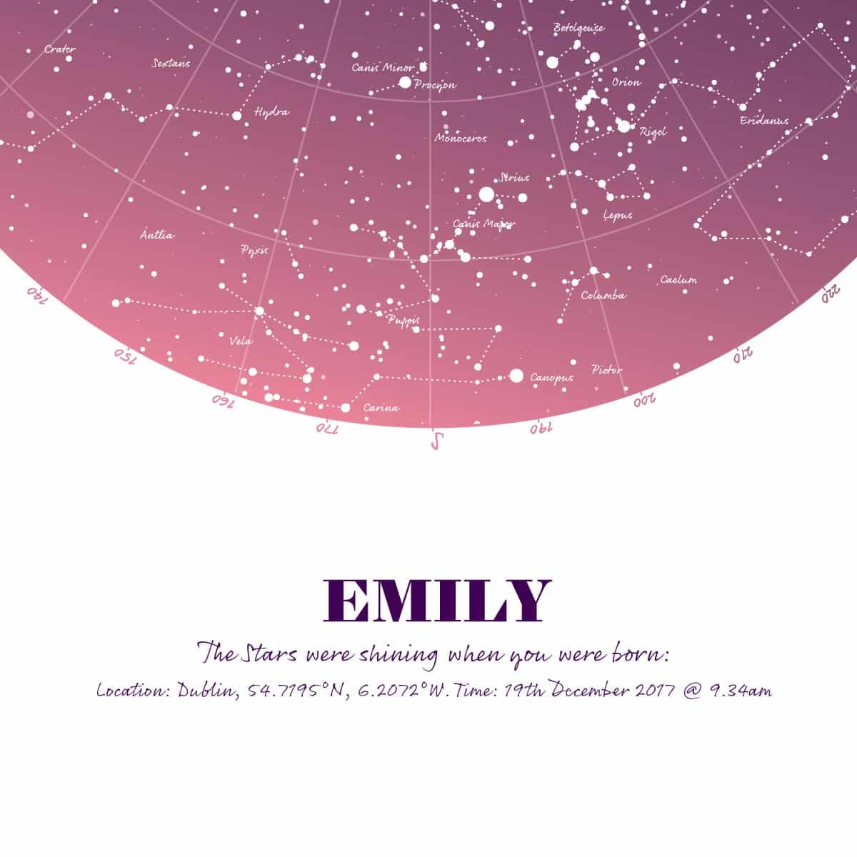 Birthday Gift Map Of The Stars Print Pink