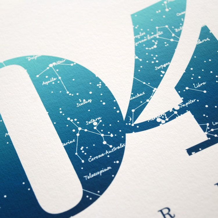 Close up of Birthday Gift Print Number 4 in Blue