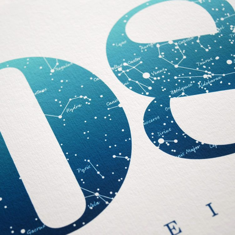 Close up of Birthday Gift Print Number 8 in Blue