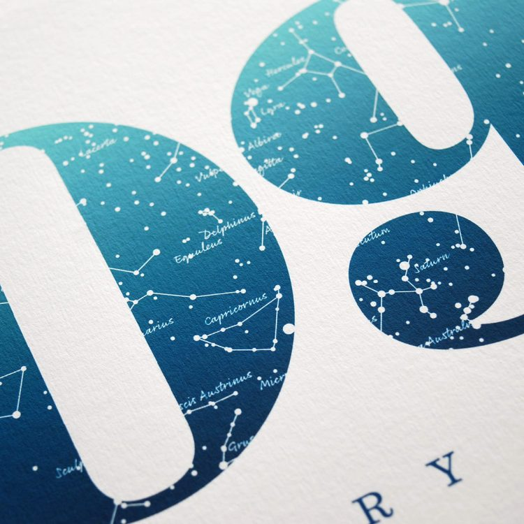 Close up of Birthday Gift Print Number 9 in Blue