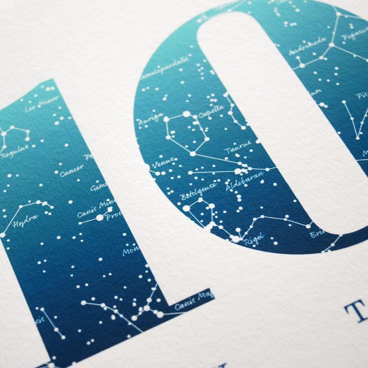Close up of Birthday Gift Print Number 10 in Blue