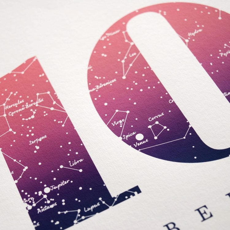 Close up of Birthday Gift Print Number 10 in pink