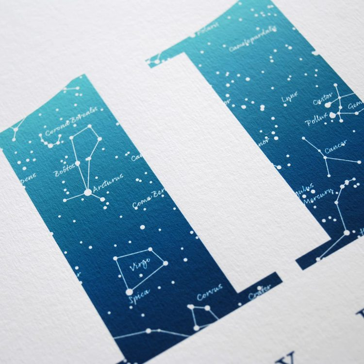 Close up of Birthday Gift Print Number 11 in Blue