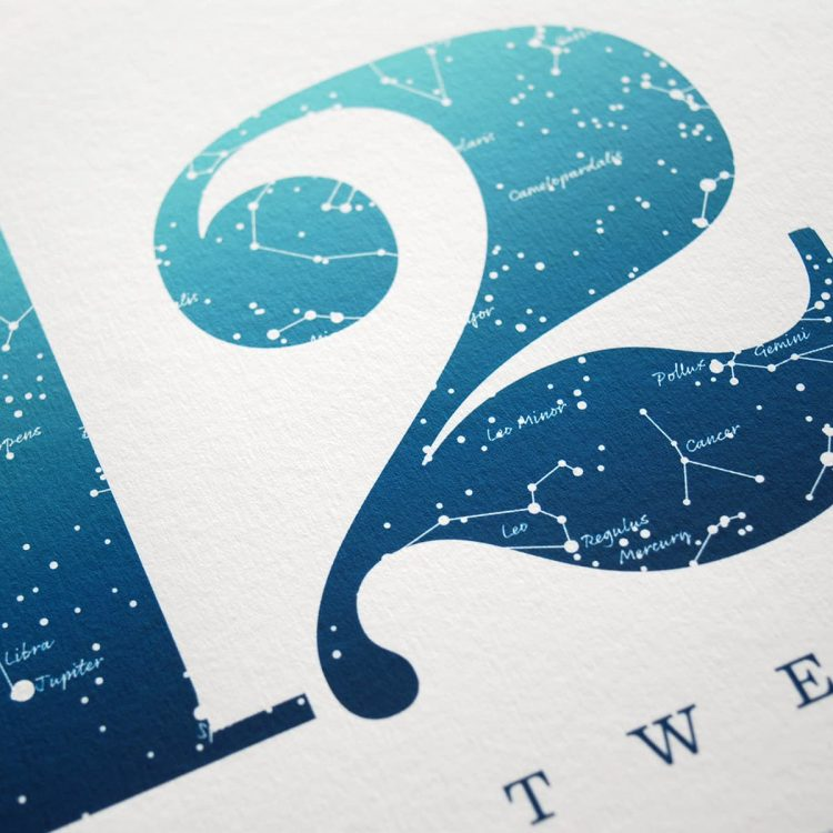 Close up of Birthday Gift Print Number 12 in Blue