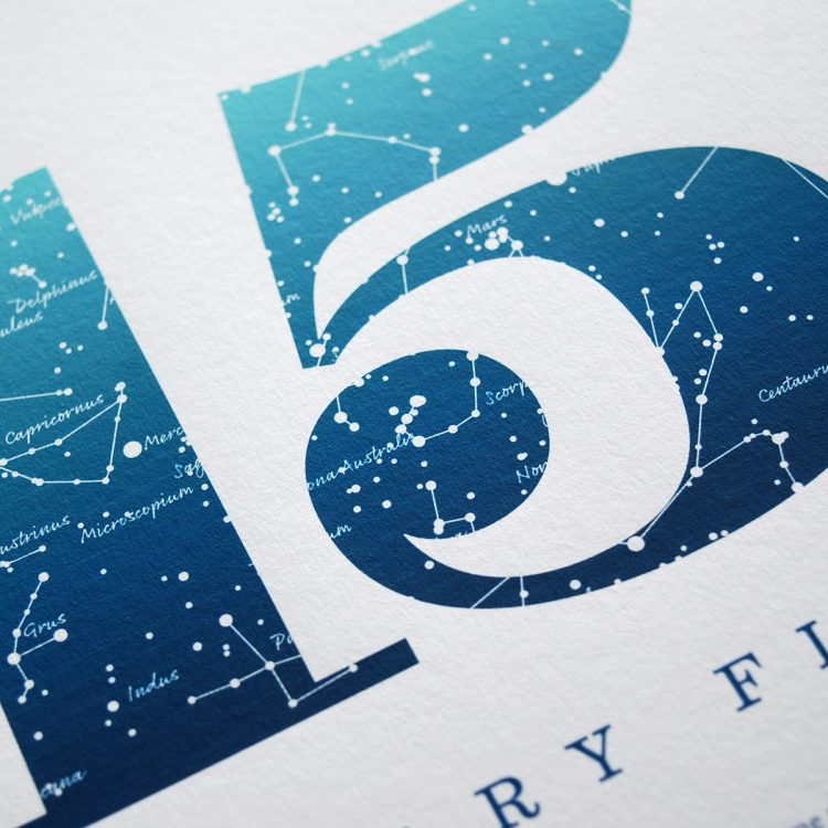 Close up of Birthday Gift Print Number 15 in Blue