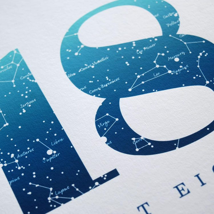 Close up of Birthday Gift Print Number 18 in Blue