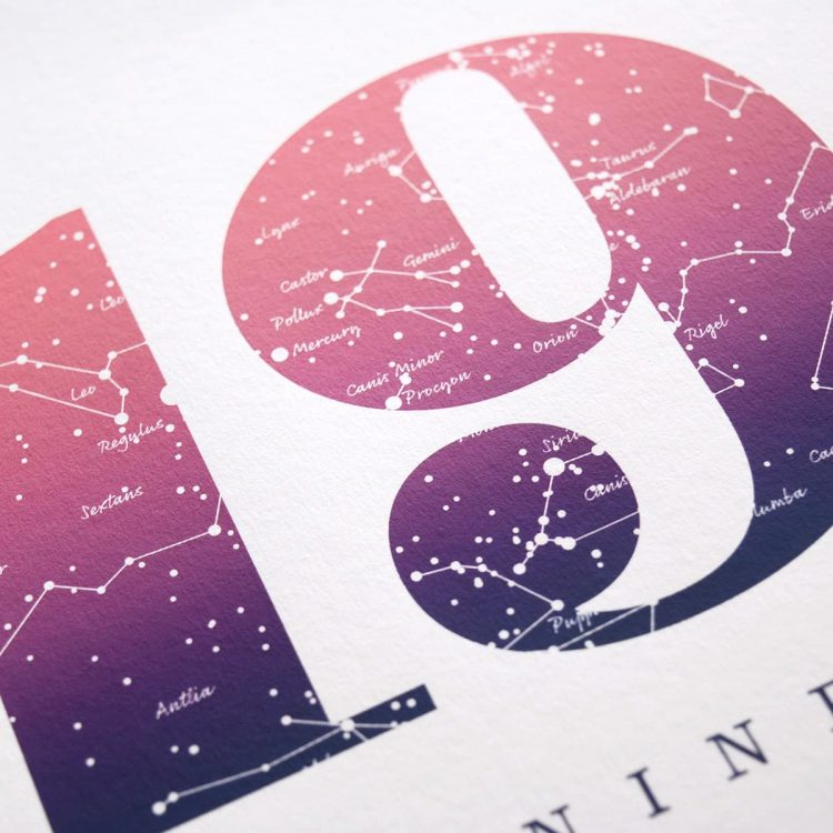 Close up of Birthday Gift Print Number 19 in Pink