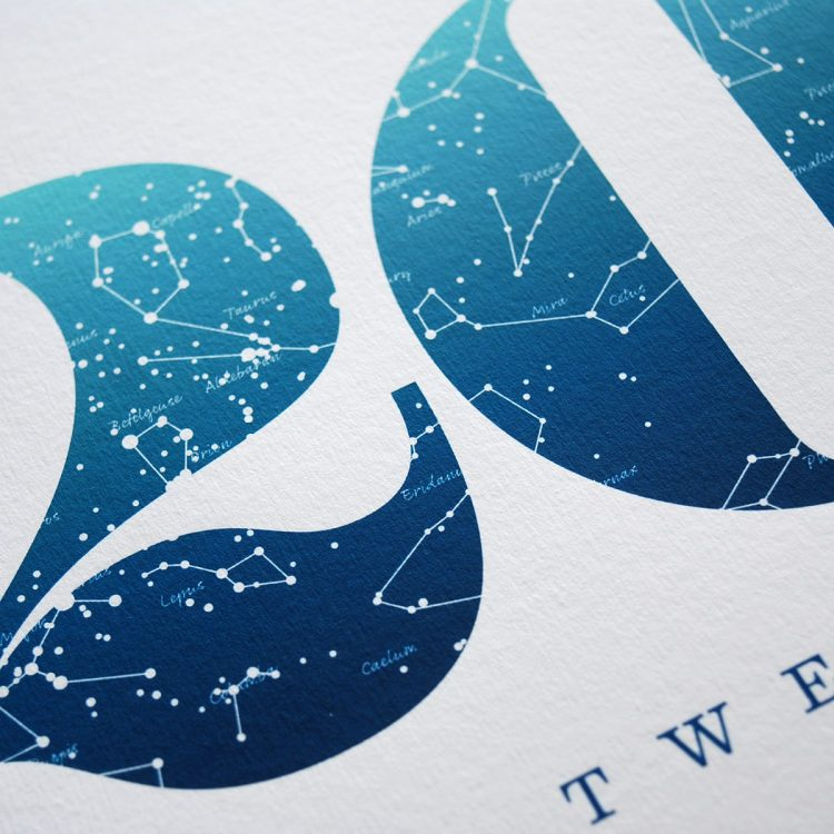 Close up of Birthday Gift Print Number 20 in Blue