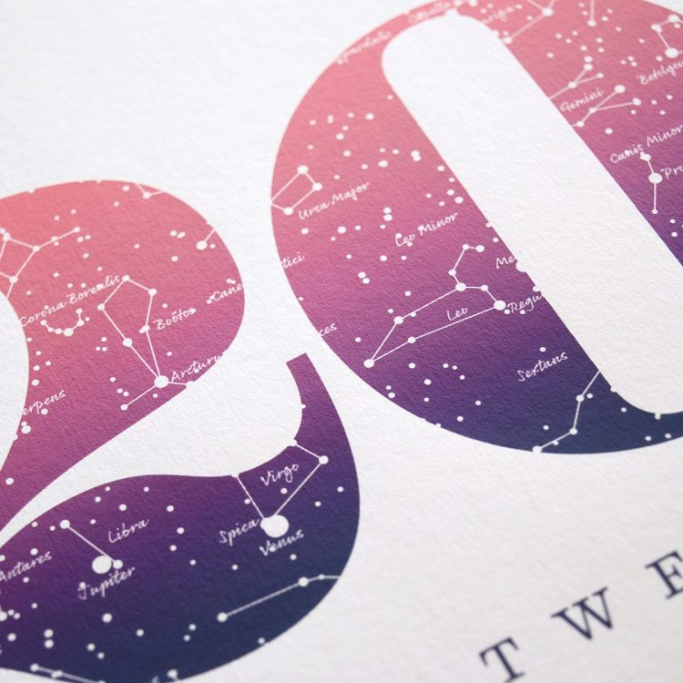 Close up of Birthday Gift Print Number 20 in Pink
