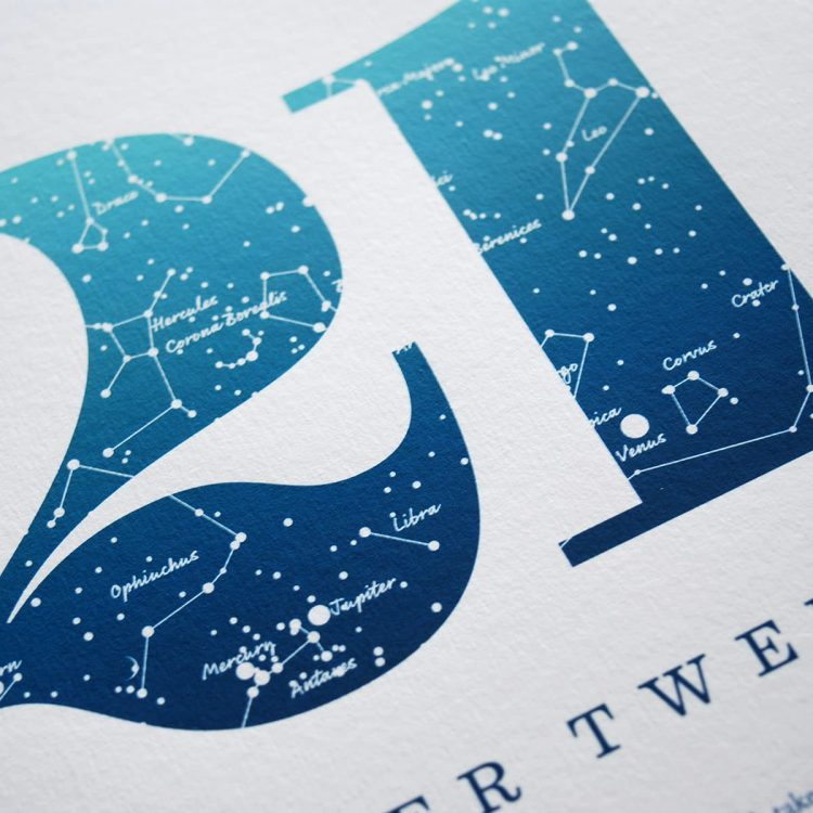 Close up of Birthday Gift Print Number 21 in Blue