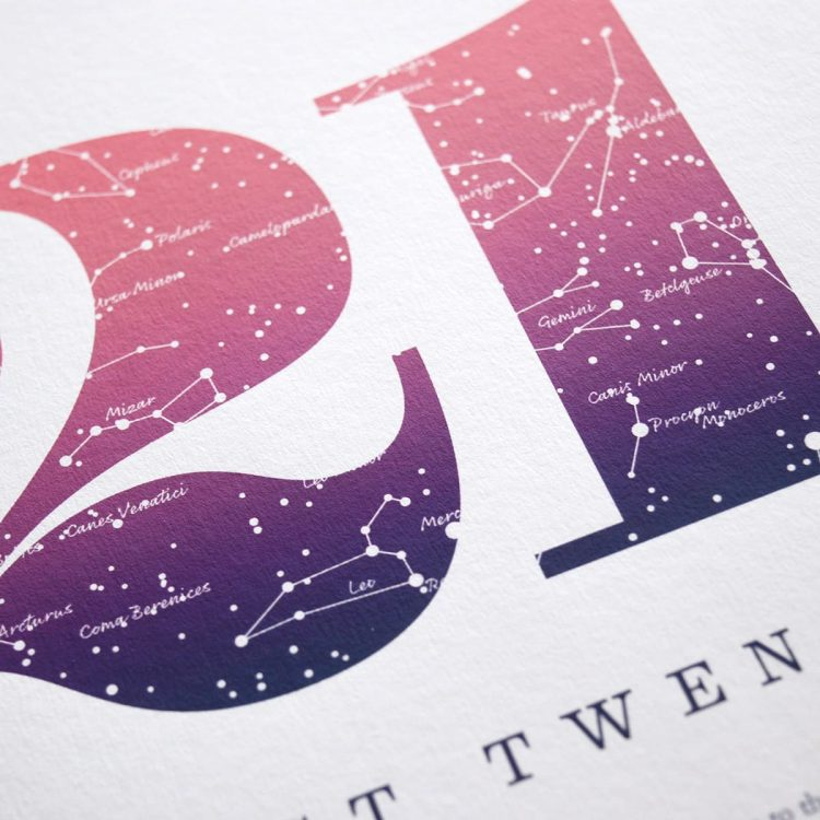 Close up of Birthday Gift Print Number 21 in Pink