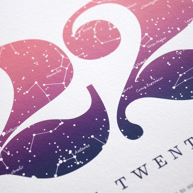 Close up of Birthday Gift Print Number 22 in Pink