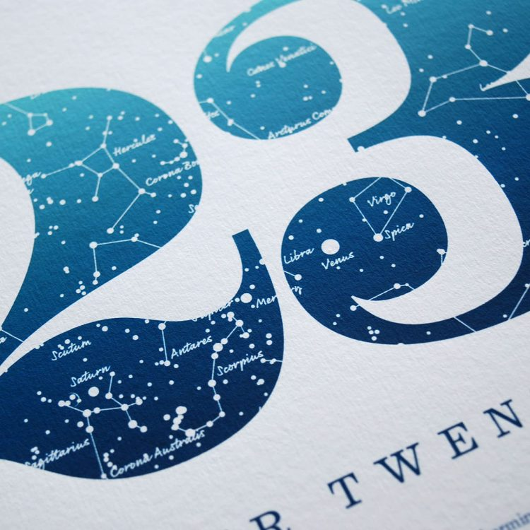 Close up of Birthday Gift Print Number 22 in Blue