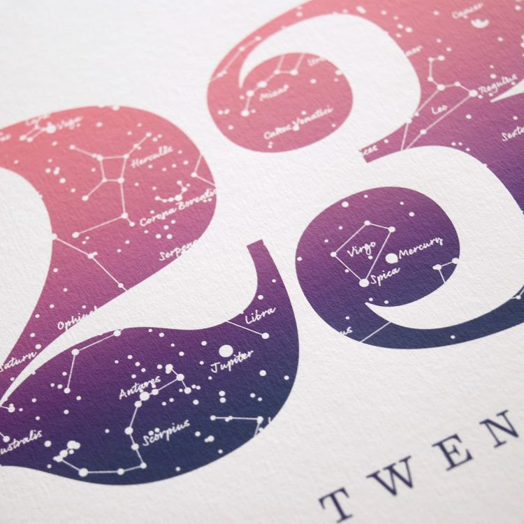 Close up of Birthday Gift Print Number 23 in Pink