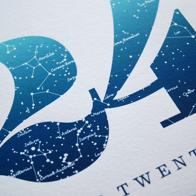 Close up of Birthday Gift Print Number 24 in Blue
