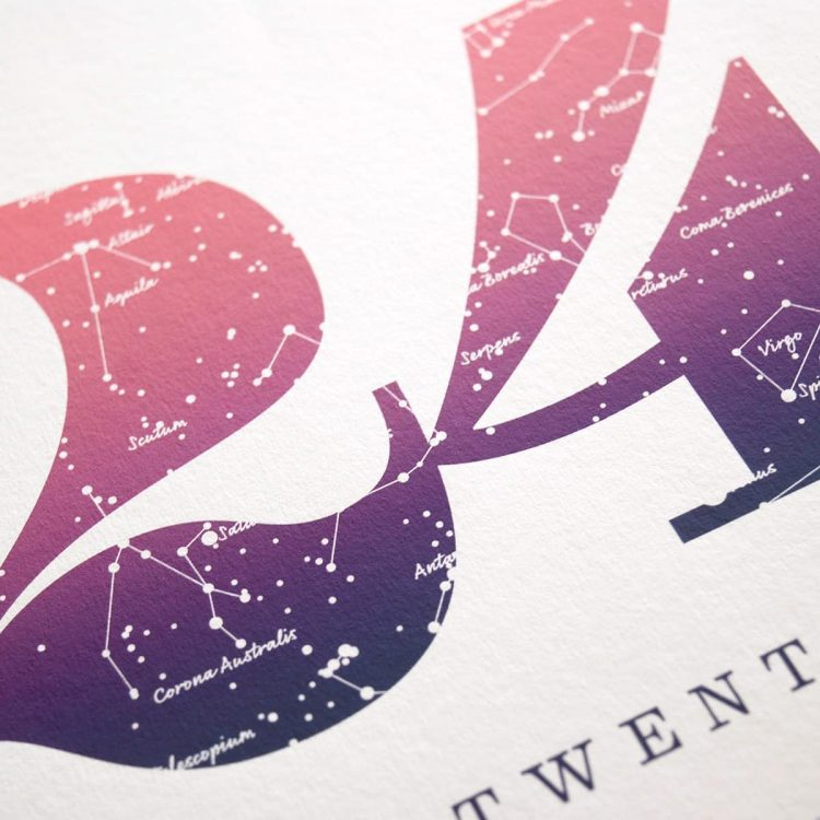 Close up of Birthday Gift Print Number 24 in Pink
