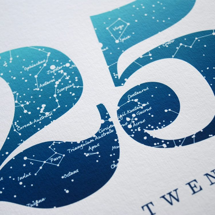 Close up of Birthday Gift Print Number 25 in Blue