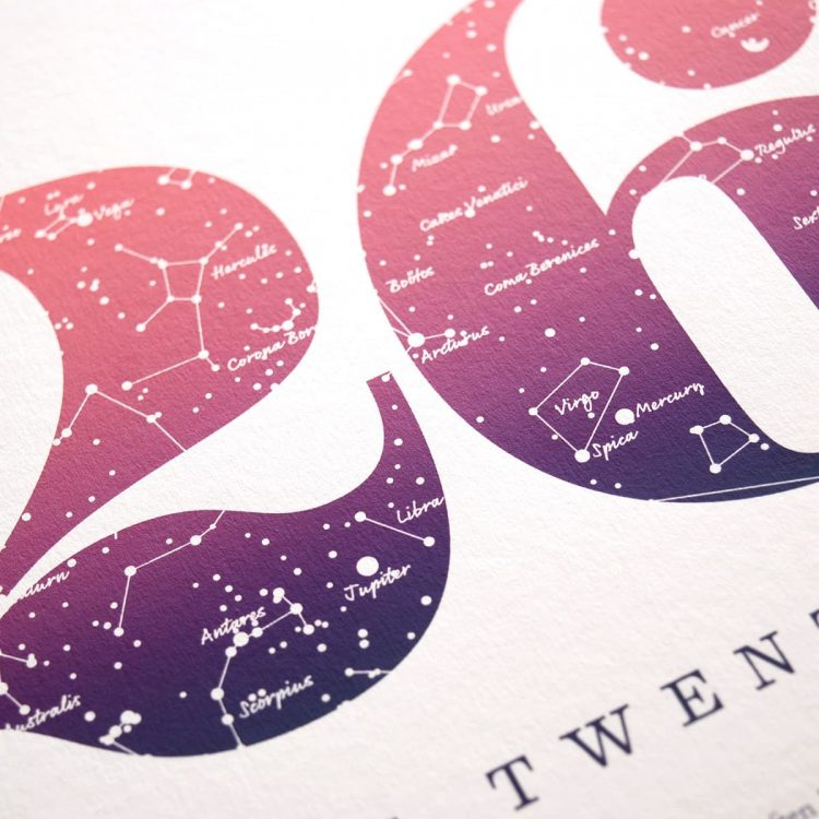 Close up of Birthday Gift Print Number 26 in Pink