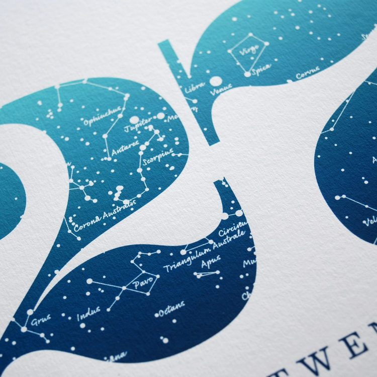 Close up of Birthday Gift Print Number 27 in Blue
