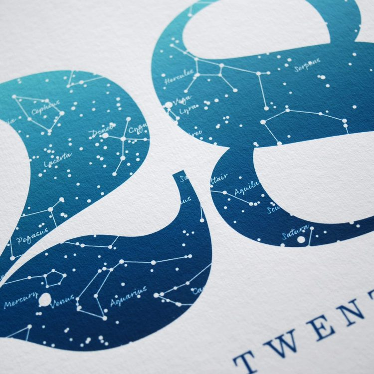 Close up of Birthday Gift Print Number 28 in Blue
