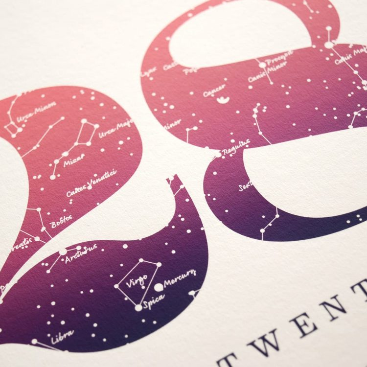 Close up of Birthday Gift Print Number 28 in Pink