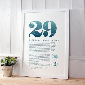 February 29 Birthday Gift Print in Blue