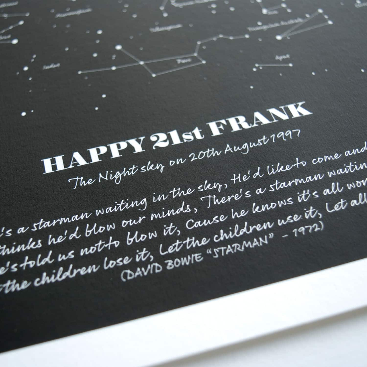 Personalised 21st Birthday Star Map Gift