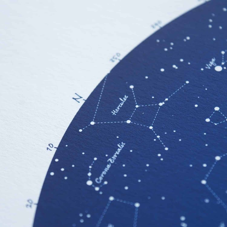 Personalised Christening Gift for Boy Star Map in Blue