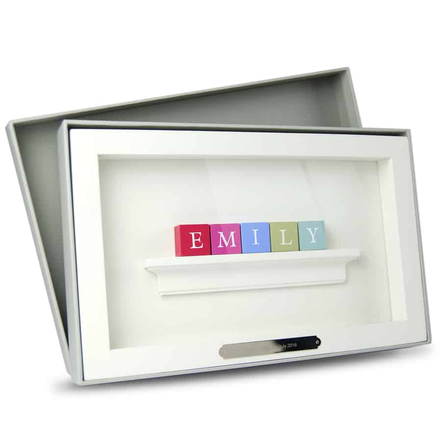 Christening Baby Gift ABC Frame Pastel Blocks for Girls