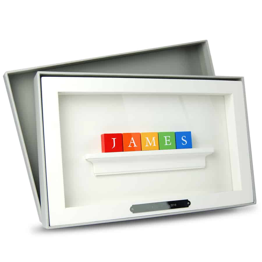 Christening Baby Gift ABC Frame Rainbow Colours