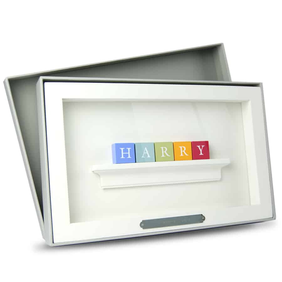 Christening Baby Boy Gift ABC Frame Vintage Colours