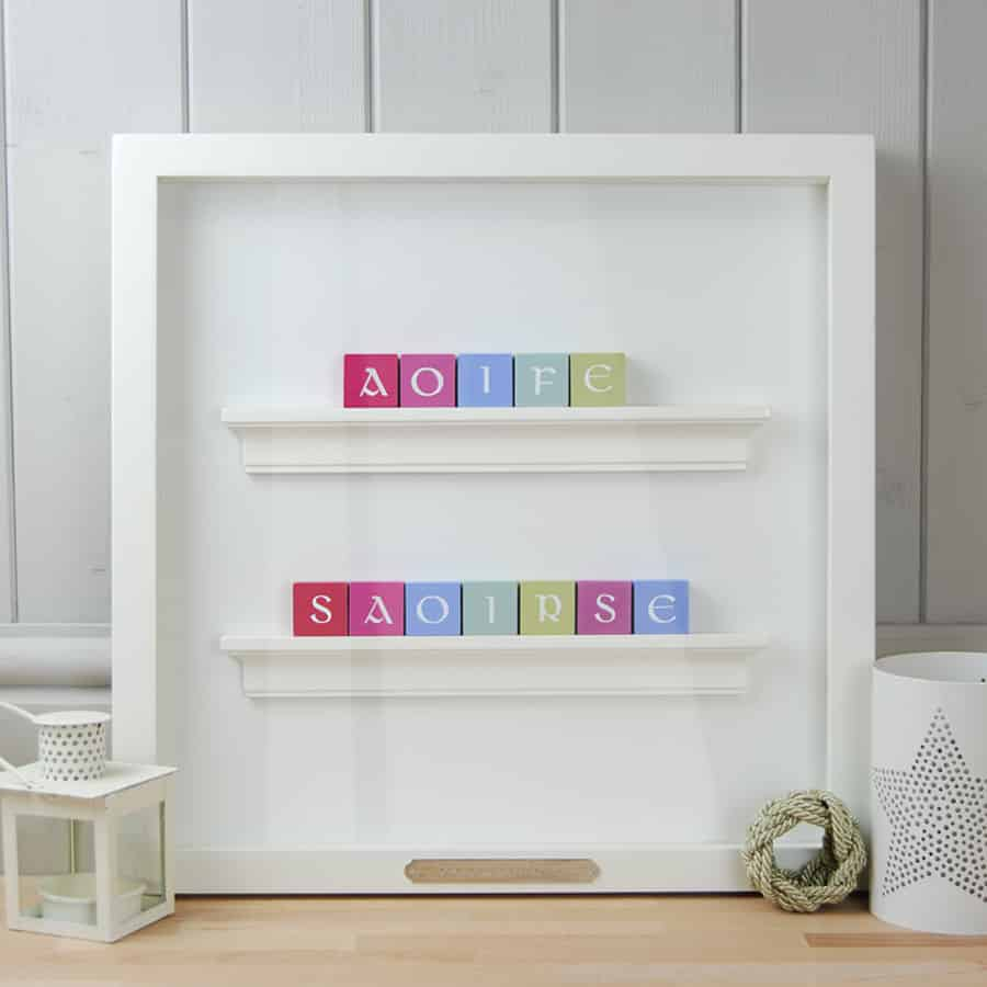 Christening Gift and Baby Gift Personalised ABC Frame for Twins Pastel Colours Irish Letters