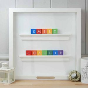 Christening Gift and Baby Gift for Twin Boys Personalised ABC Frame Rainbow Colours Classic Letters