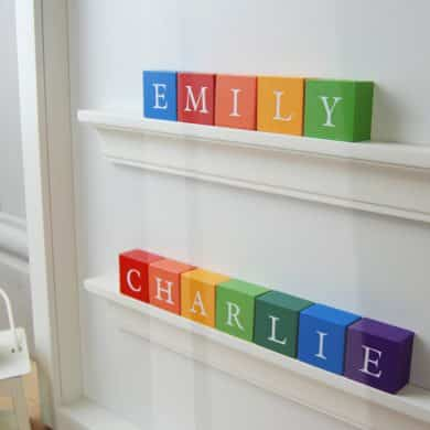Christening Gift and Baby Gift for Twin Boys Personalised ABC Frame Rainbow Colours Classic Letters Close Up