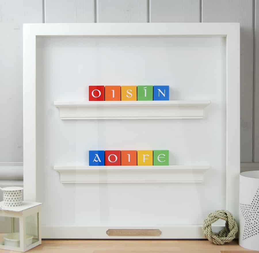 Christening Gift and Baby Gift Personalised ABC Frame for Twins Rainbow Colours Irish Letters