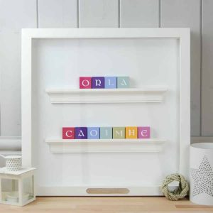 Christening Gift and Baby Gift Personalised ABC Frame for Girls Twins Vintage Colours Irish Letters