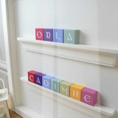 Christening Gift and Baby Gift Personalised ABC Frame for Twin Girls Vintage Colours Irish Letters Close Up